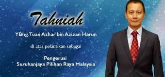 Tahniah Yang Berbahagia Tuan Azhar bin Azizan Harun